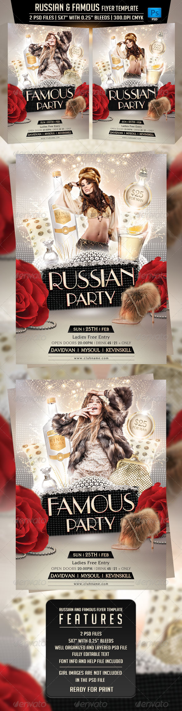 Russian and Famous Flyer Template - Clubs & Parties Events