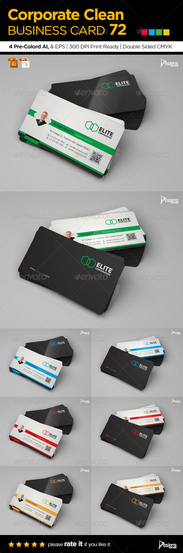 Corporate Clean Business Card 72 - Corporate Business Cards
