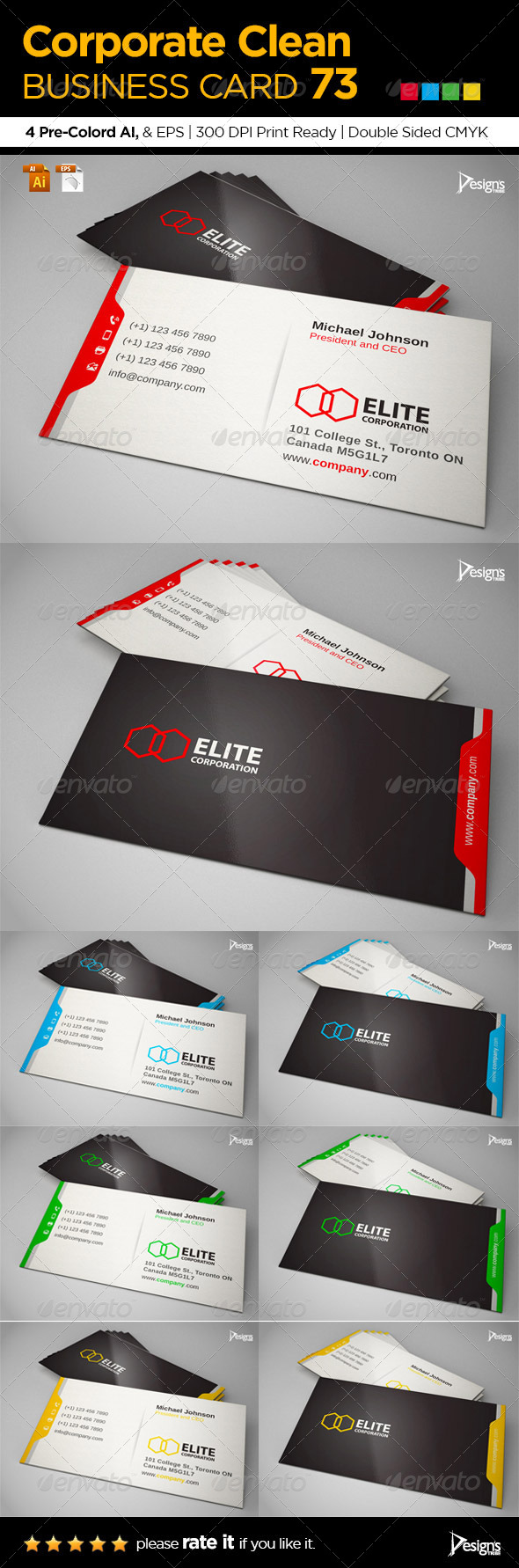Corporate Clean Business Card 73 - Corporate Business Cards