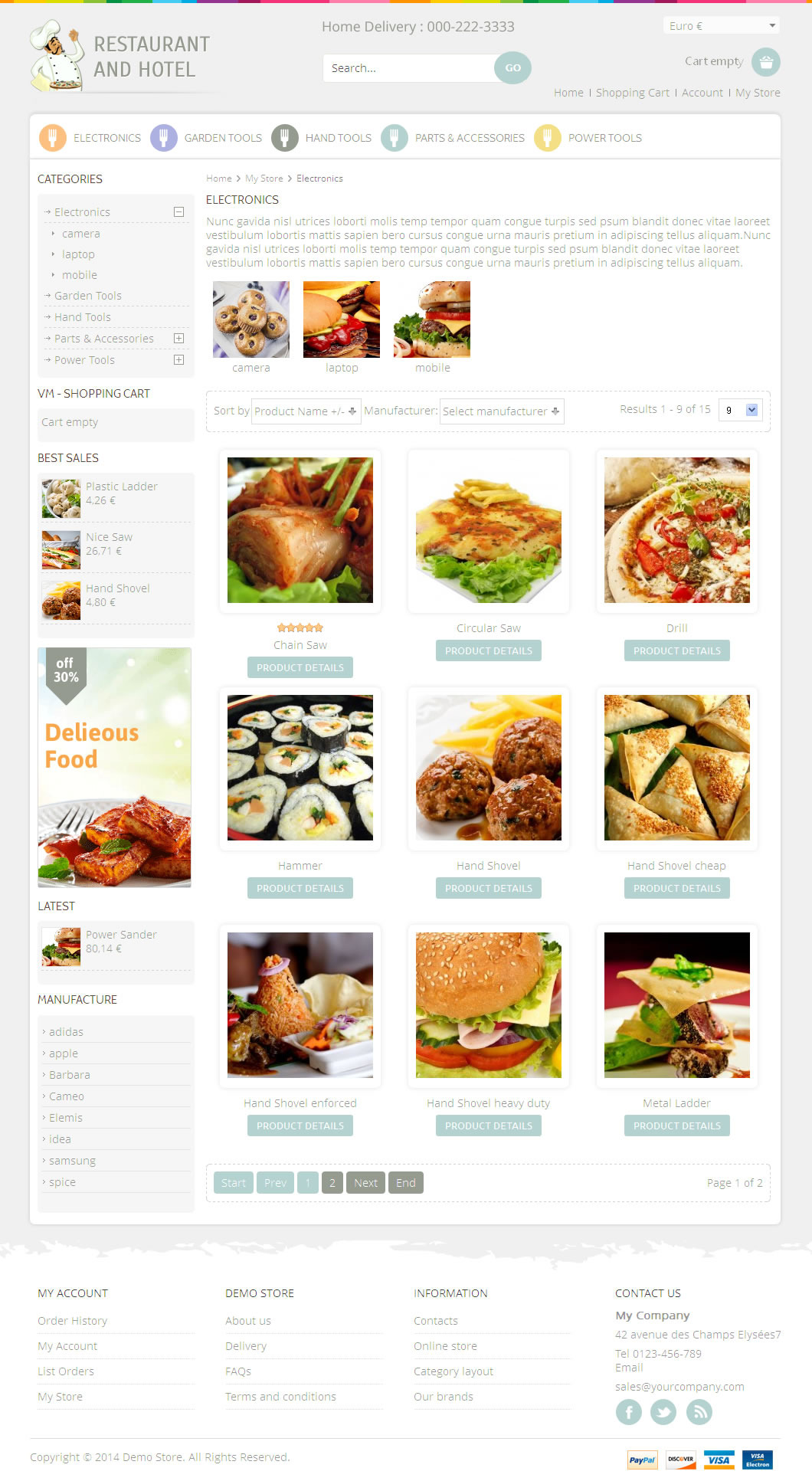 Restaurant Virtuemart Responsive Template By