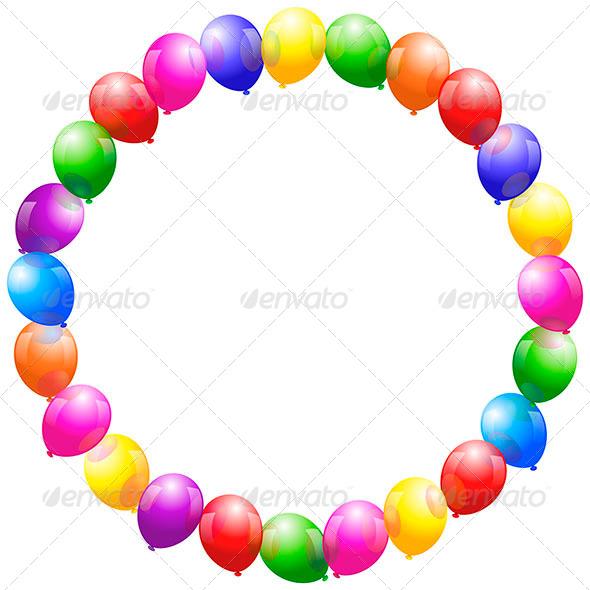 Balloons Frame Circular - Borders Decorative