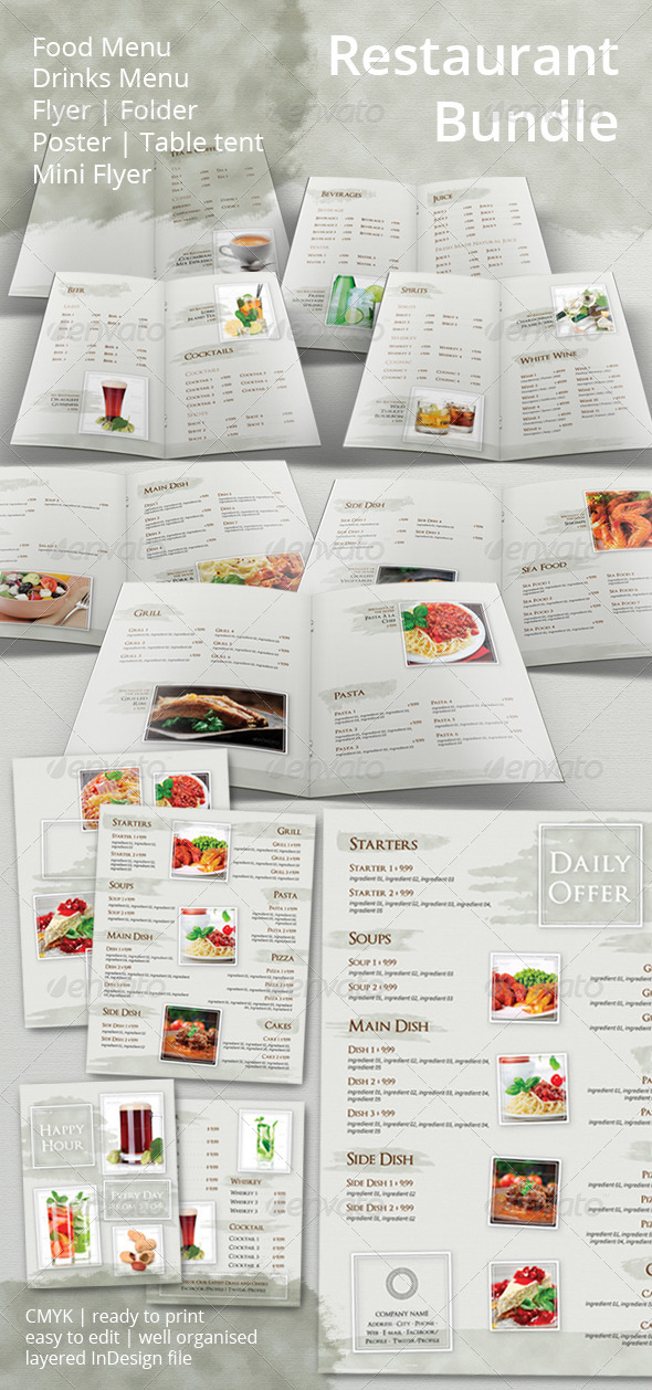 Restaurant Menu and Promotional Set Bundle - Food Menus Print Templates