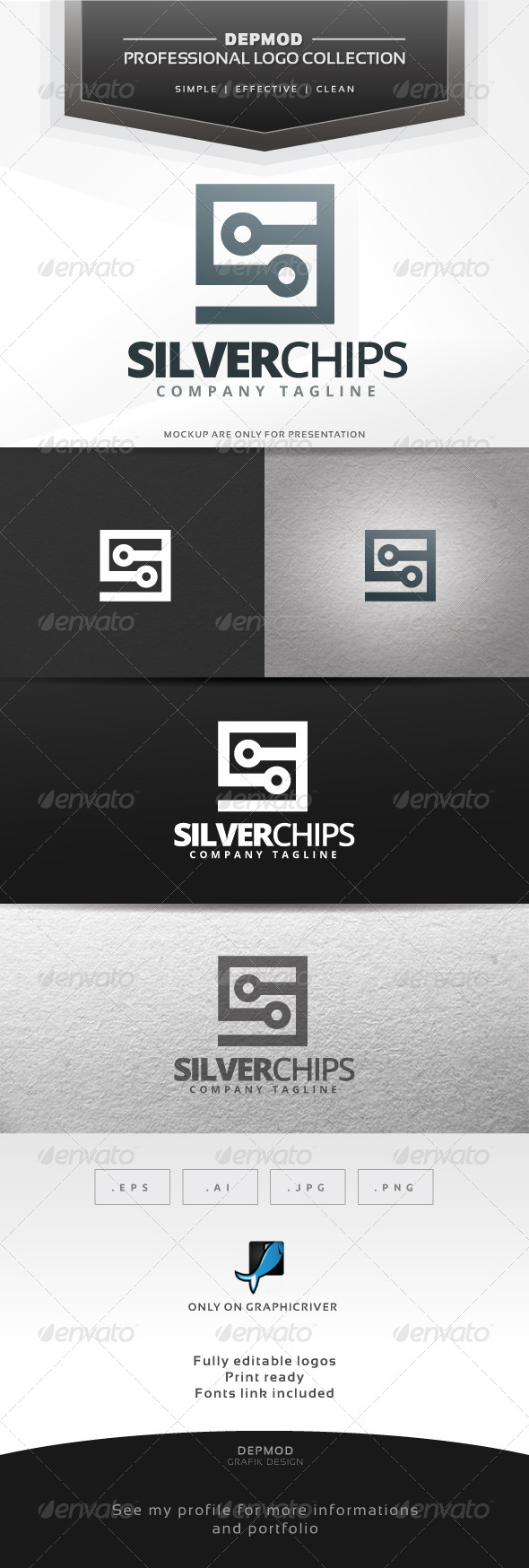 Silver Chip Logo - Letters Logo Templates