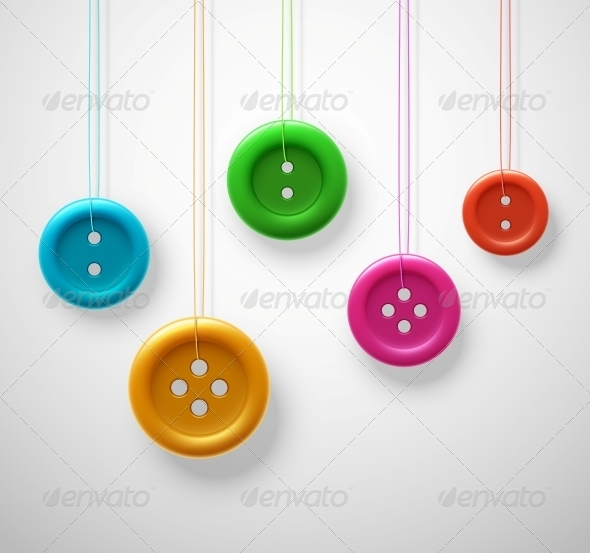 Colorful Sewing Buttons - Miscellaneous Vectors