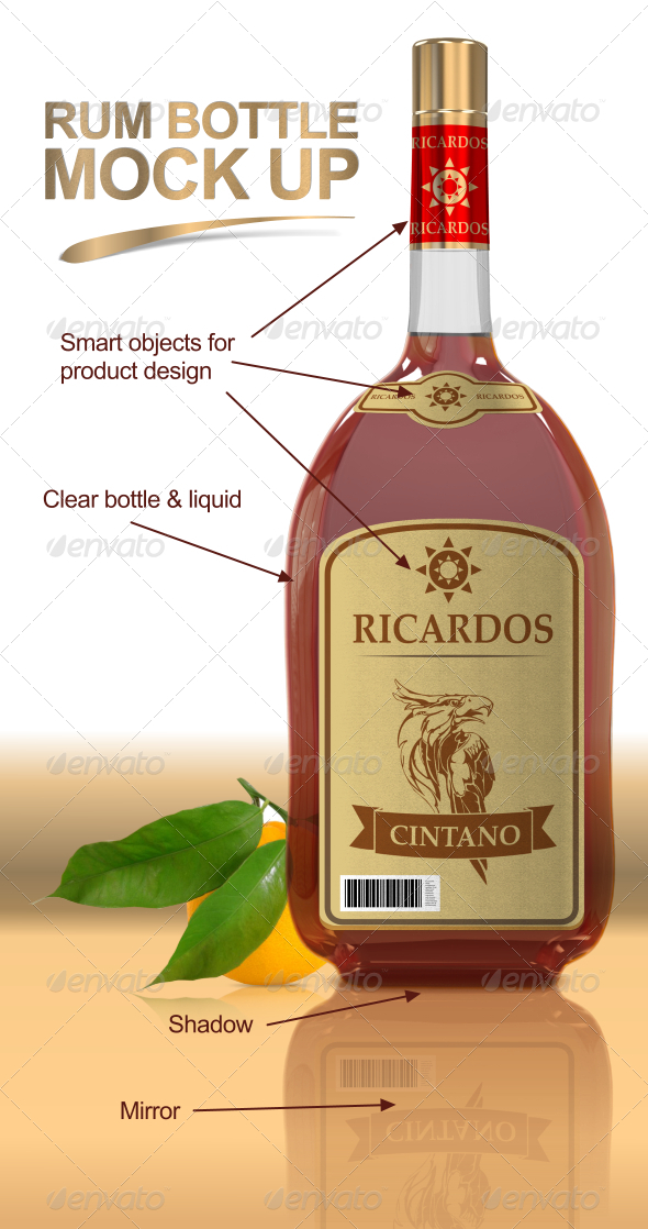 Rum Bottle Mock Up - Food and Drink Packaging