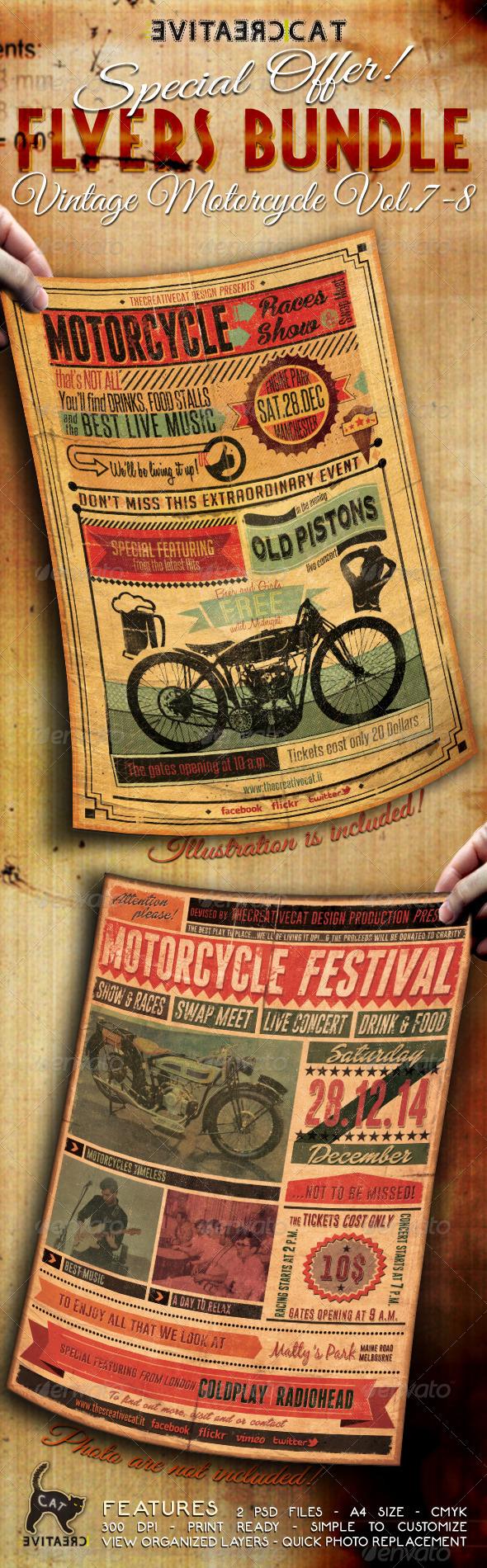 Vintage Motorcycle Flyer/Poster Bundle Vol. 7-8 - Events Flyers