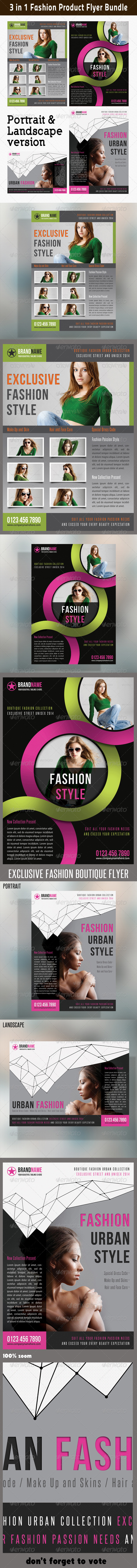 3 in 1 Fashion Product Flyer Bundle 09 - Commerce Flyers