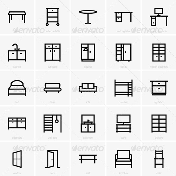 Furniture Icons - Decorative Symbols Decorative