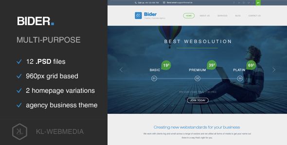 Bider – Corporate PSD Template