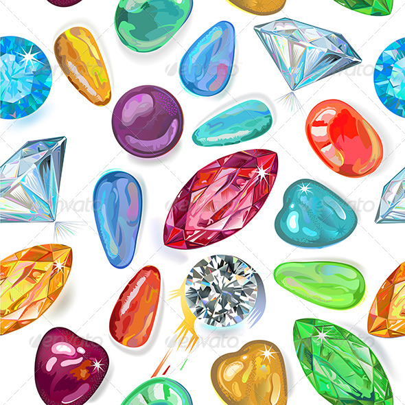 Seamless Texture of Colored Gems - Backgrounds Decorative