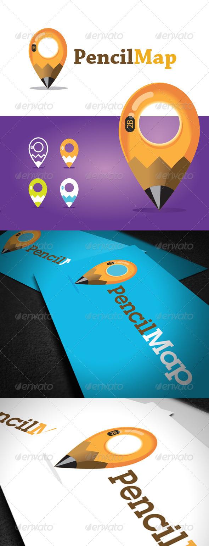 Pencil Map Logo Template - Vector Abstract