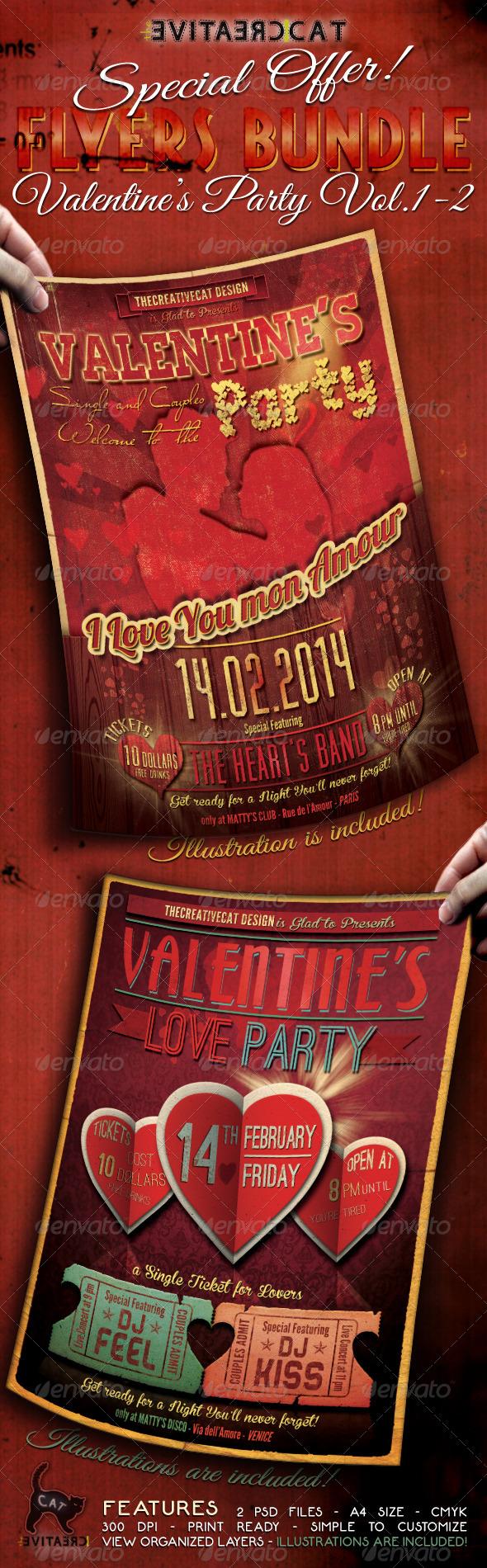 Valentine's Party Flyer/Poster Bundle Vol. 1-2 - Events Flyers