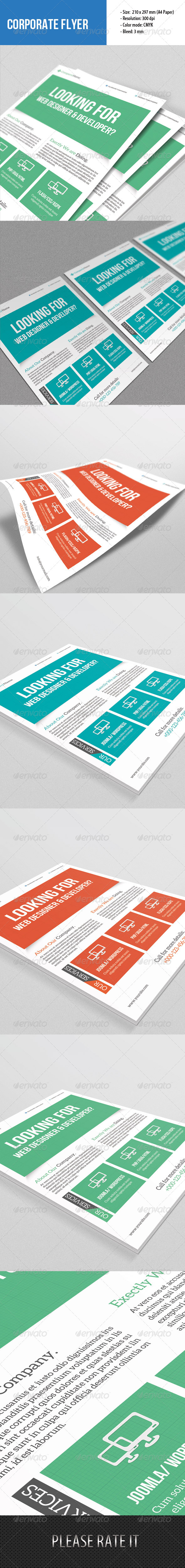 Flyer Template for Web Designer - Corporate Flyers
