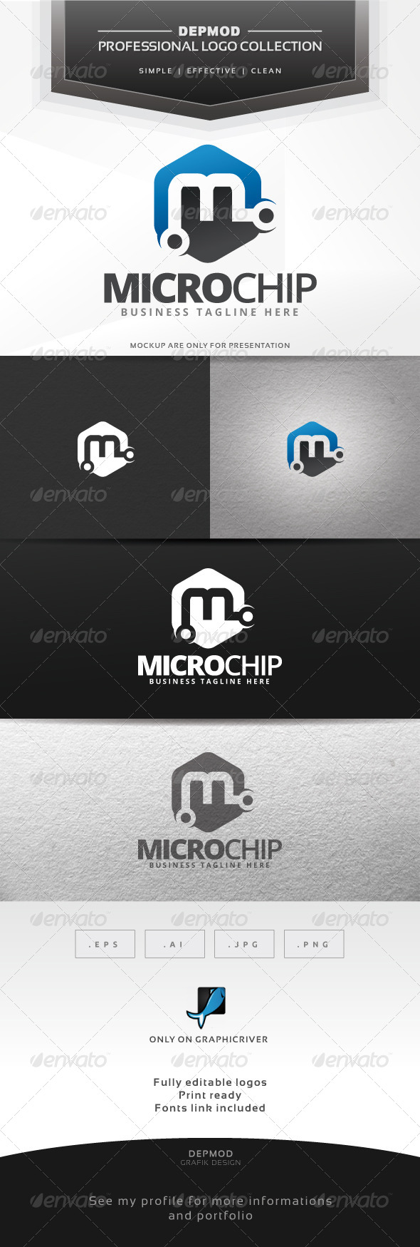 Micro Chip Logo - Letters Logo Templates