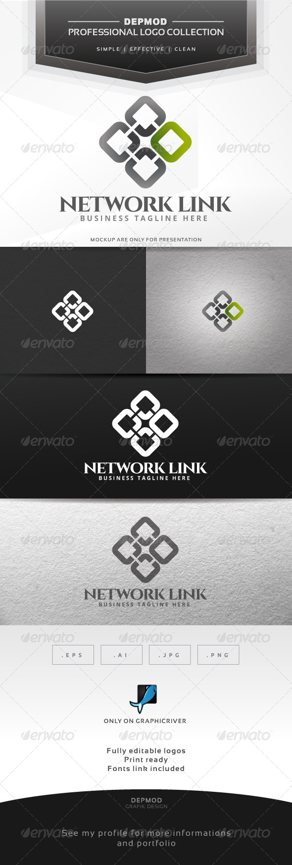 Network Link Logo - Abstract Logo Templates