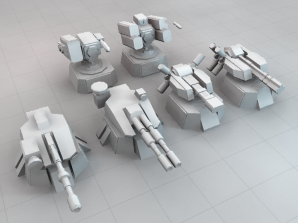 Low Poly Sci-Fi Turret Set - 3DOcean Item for Sale