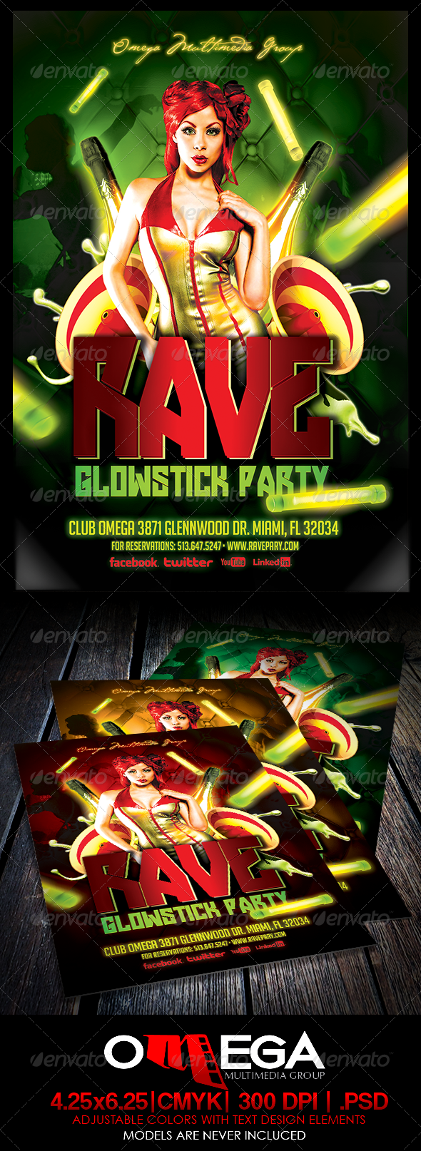Rave Glowstick Party - Events Flyers