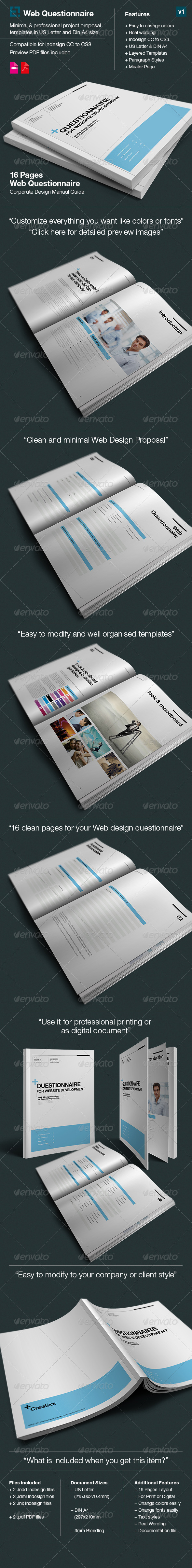 Dsign Questionnaire for Web Design - Proposal  - Proposals & Invoices Stationery