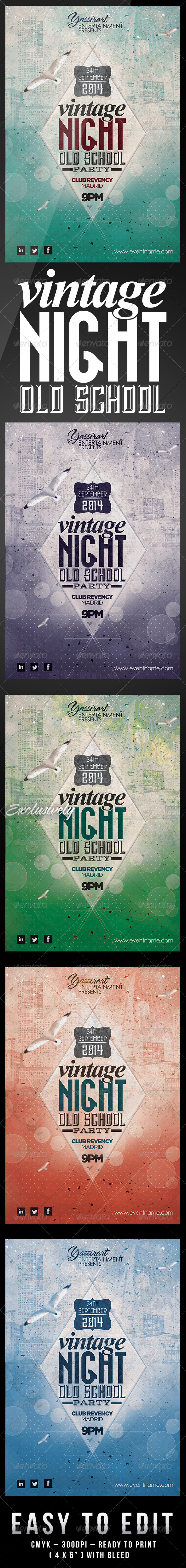 Vintage Night Old School Party Flyer Template - Clubs & Parties Events