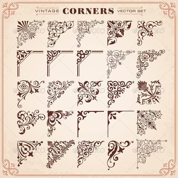 Vintage Style Design Elements Corners - Flourishes / Swirls Decorative