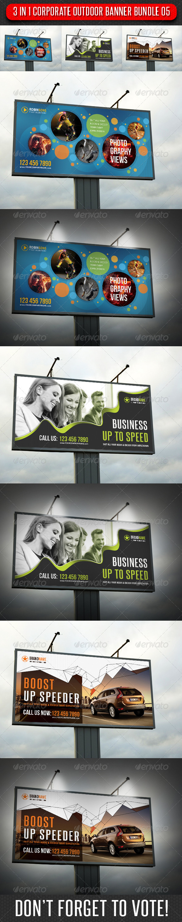 3 in 1 Corporate Outdoor Banner Bundle 05 - Signage Print Templates