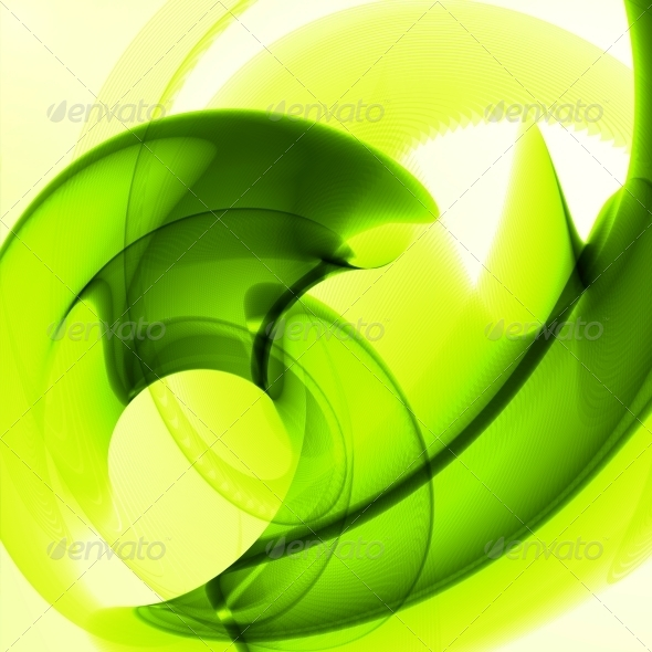 Abstract Green Wave Background - Abstract Conceptual
