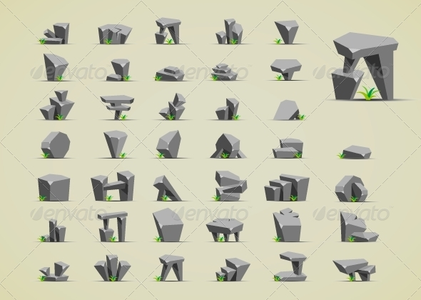 Stones with Grass - Sprites Game Assets