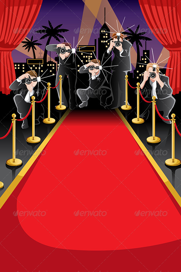 Red Carpet and Paparazzi Background - Backgrounds Decorative