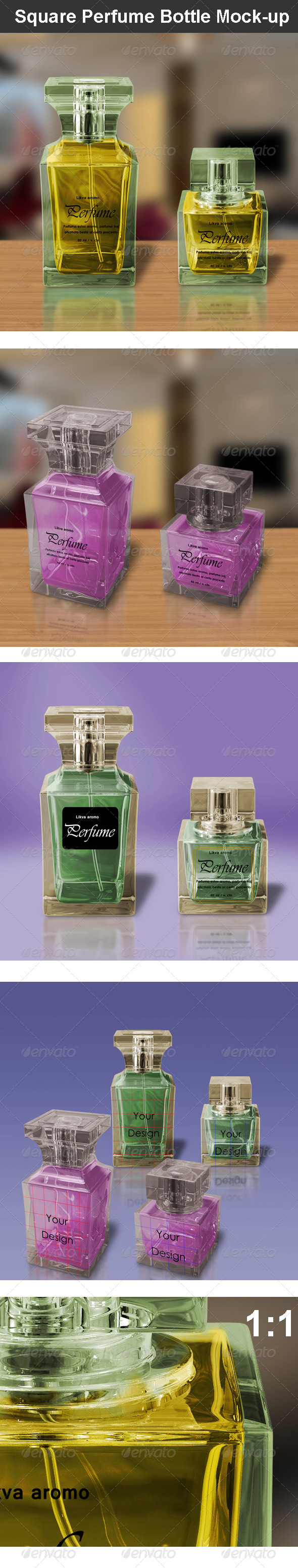 Square Perfume Bottle Mock-up - Beauty Packaging