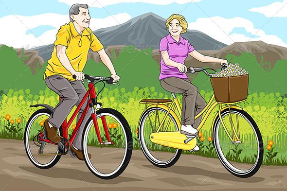 Seniors Riding Bicycles - Sports/Activity Conceptual