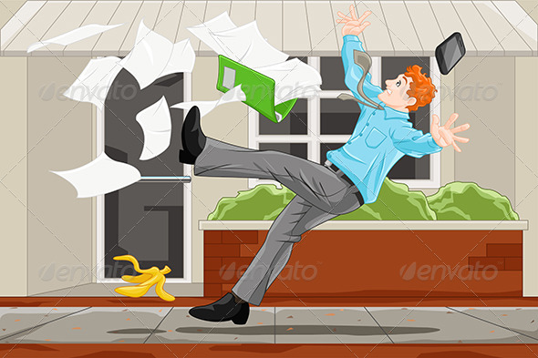 Businessman Slipping on a Banana Skin - People Characters
