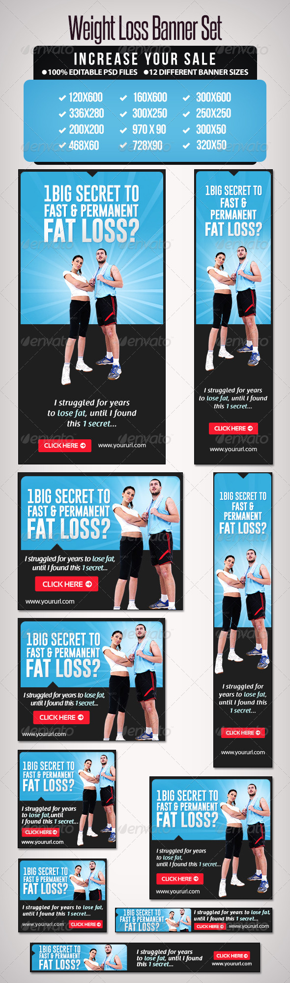 Weight Loss Banner Set 5 - Banners & Ads Web Elements