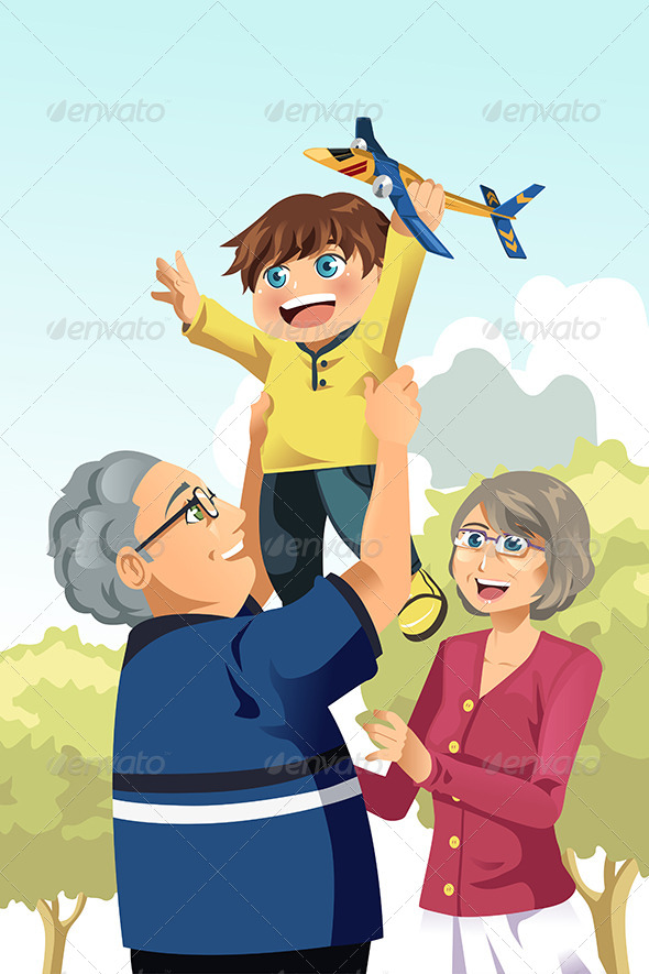 Grandparents and Grandson Playing - People Characters