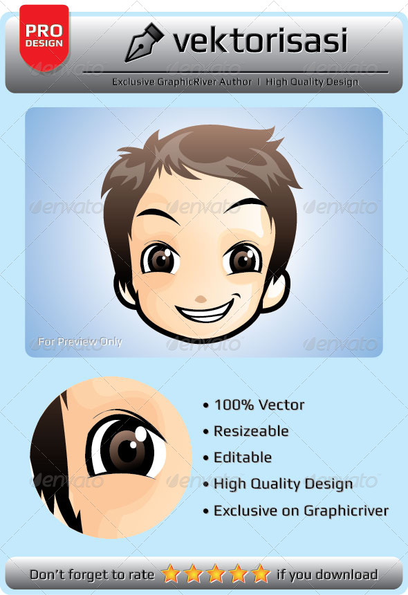 Little Boy Face Vector - People Characters