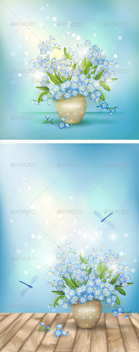 Spring Blue Flowers Season Background - Flowers & Plants Nature