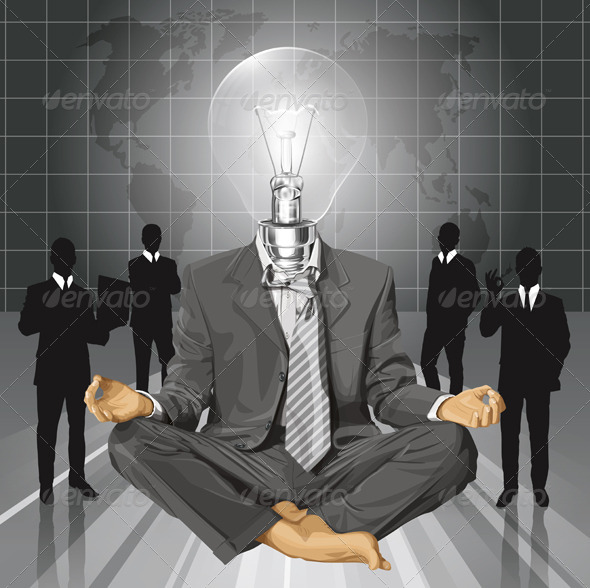 Lamp Head Businessman in Lotus Pose Meditating - People Characters