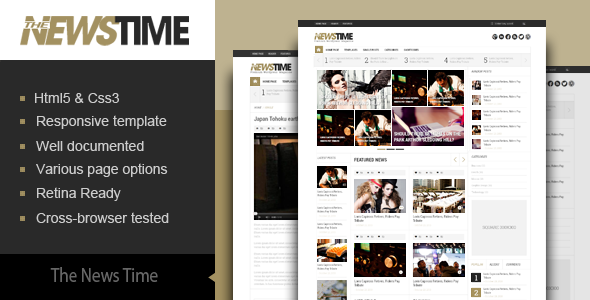 The News Time Magazine HTML5 Template - Corporate Site Templates