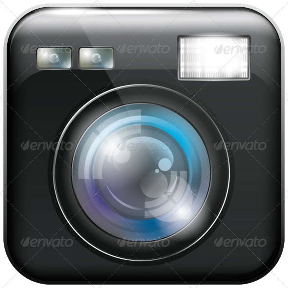App Icon with Camera Lens and Flash Light - Icons