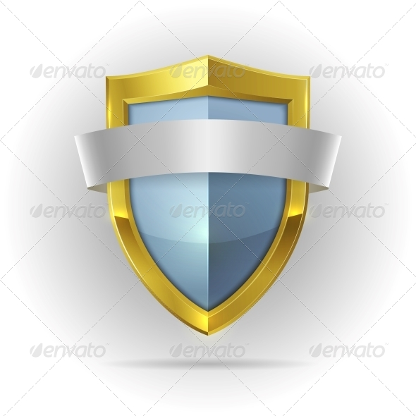Guard Shield with Blank Ribbon Emblem - Decorative Symbols Decorative