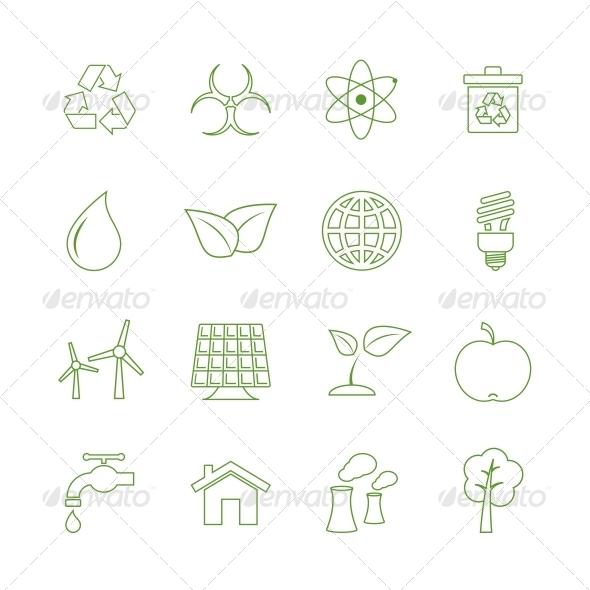 Green Eecology Icons Set - Web Elements Vectors