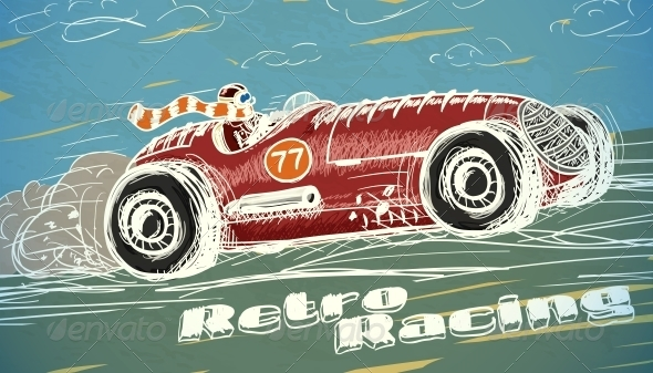 Retro Racing Car Poster - Backgrounds Decorative