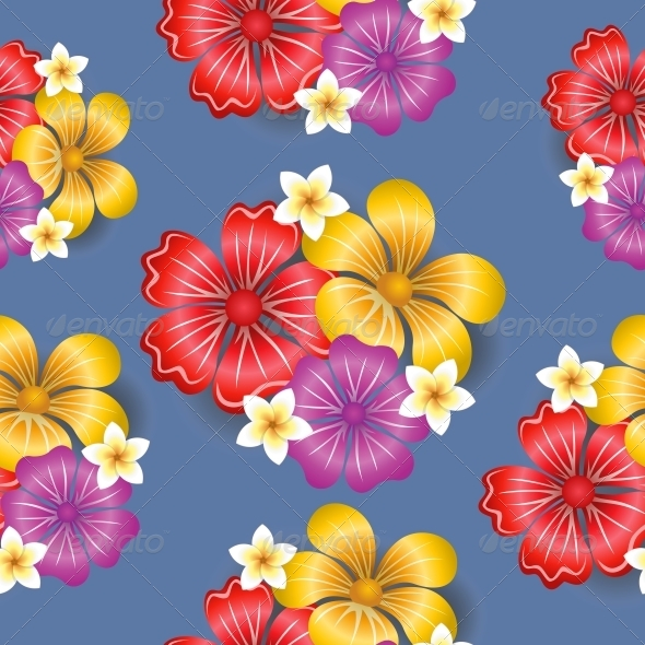 Tropical Flowers Seamless Pattern Background - Flowers & Plants Nature