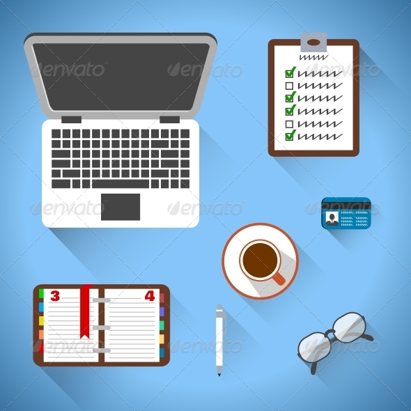 Top view on business workplace - Web Elements Vectors