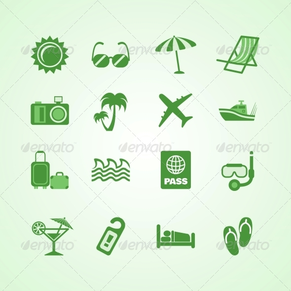 Vacation Travel Green Icons Set - Web Elements Vectors
