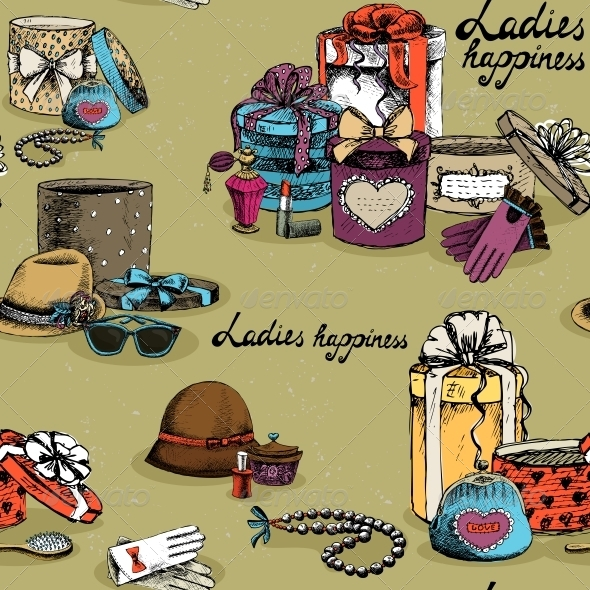 Seamless Woman Accessory with Gift Boxes - Backgrounds Decorative