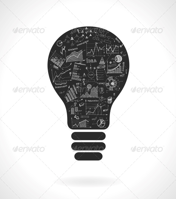 Light Bulb with Infrographics - Web Technology