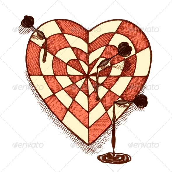 Target Shaped Heart with Arrows Emblem - Valentines Seasons/Holidays