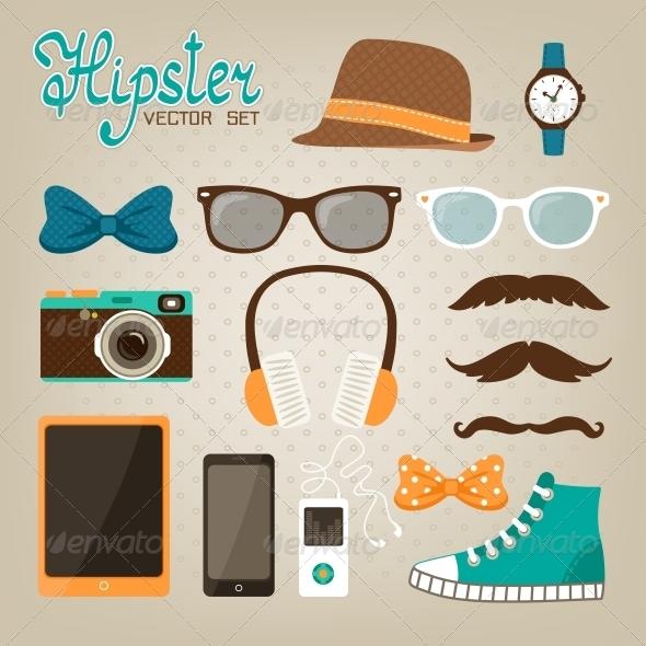 Hipster Elements Icons Set - Web Elements Vectors