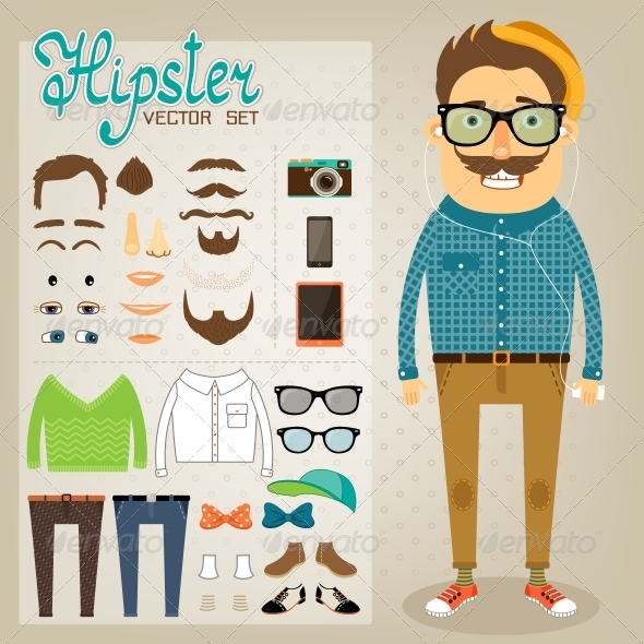 Hipster Character Pack for Geek Boy - People Characters