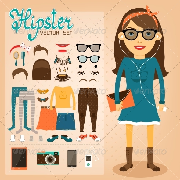 Hipster Character Pack for Geek Girl - People Characters
